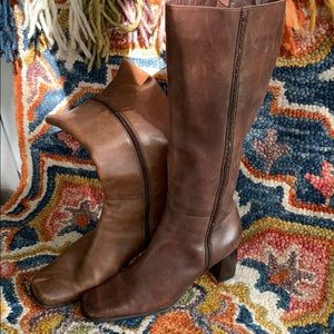 Shoes - Brown Leather Calf-high Boots